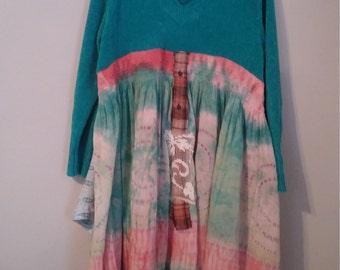 Upcycled babydoll ..junk gypsy bohemian dress..L-XXL..Bohippy dress..shabby chic dress..prairie chic..eco clothing..Upcycled sweater dress