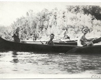 Old Photo Woman and Boys in Canoe wearing Swimsuits Lake 1920s Photograph snapshot vintage People Canoes