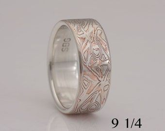 Wide mokume gane band, copper and sterling silver, size 9 1/4, #771.