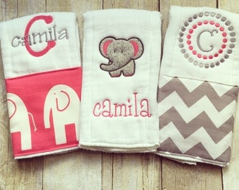 Personalized baby girl burp cloths - safari elephant, baby gift