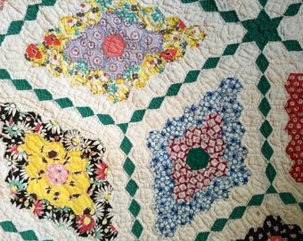 Vintage quilt feedsack hand stitched Field of Diamonds tumbling blocks pattern