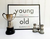 VINTAGE FLASH CARD - Young Old - Antonym - Art Print - Room Decor - 11 x 14 - Black White - Industrial - Sign