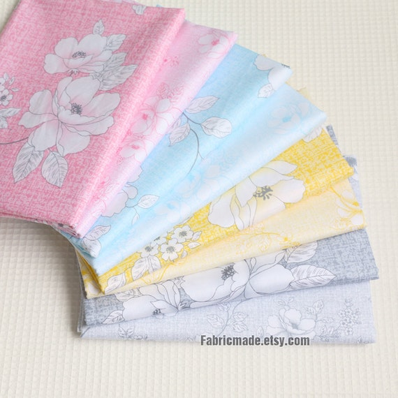 White Floral Cotton Fabric, Pink Blue Yellow Grey Cotton Large Flower, 100% Cotton - 1/2 yard