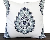 Throw pillow cover Vintage Indigo navy light blue gray white cushion cover Damask traditional contemporary modern home decor