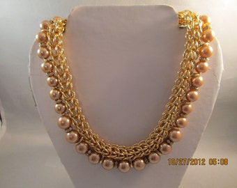 Gold Tone Chain Choker Necklace with Tan Pearls and Clear Rhinestone Spacers