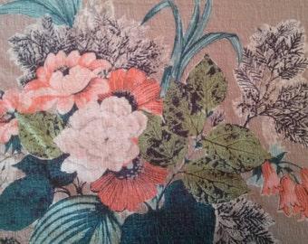 Vintage Bark Cloth Tropical Fabric Textile