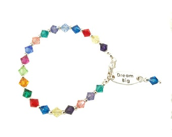 Little girls Swarovski crystal bracelet with Dream Big sterling silver charms, multi-colored crystals, Sterling silver clasp and beads