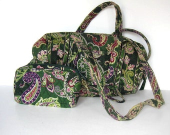 2 Vintage Vera Bradley French Country quilted fabric purses, Shoulder bag, coin purse, cosmetic bag, green paisley, Pierre Deux, gift idea