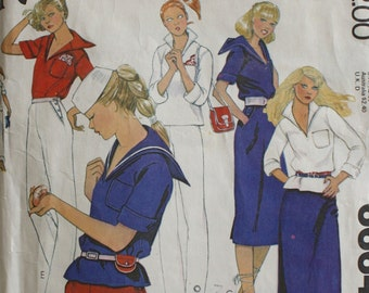 1970s Sailor Shirt . 70s Nautical Blouse Skirt Shorts Pants . Vintage McCalls Sewing Pattern 6664 . Bust 32