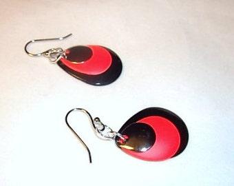 Black,Red & Polished Silver, Teardrop Earrings