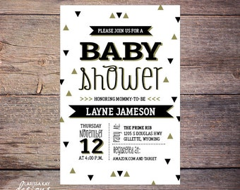 Black and Gold Baby Shower Invite, Gender Neutral Invitation Modern DiY Printable Digital File - Layne