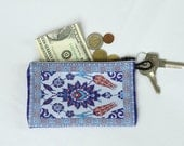 Tulip fabric purse, Tulip purse wallet, Small tulip purse, Blue tulip coin purse, Coin purse, Red tulip pouches, Keyring pouch