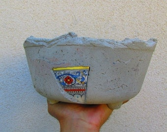 Concrete planter with Mexican mosaic tiles