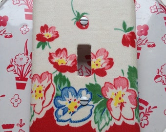 Decorative Switch Plate Cover featuring Vintage Fabric
