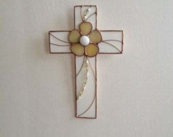 Cross Stained Glass Wall Hanging White and Cream