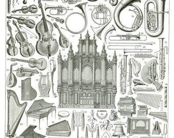 1936 Vintage musical instrument poster Antique music print Gift for musician gift Music classroom decor Gift for music teacher