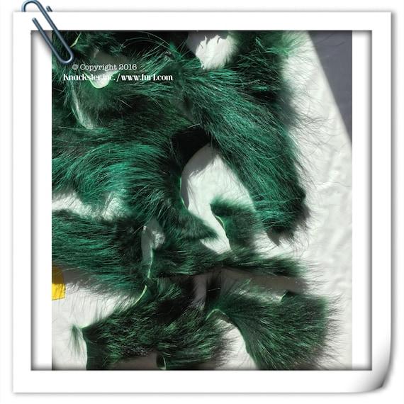 SC-620 Craft Supply Genuine Emerald Green Raccoon Fur Pelt