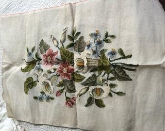 Large Floral Prefill Vintage Needlepoint Canvas