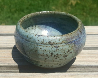 Multi-toned Speckled Blue Bowl, Hand Thrown Stoneware Pottery