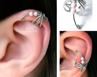 Cartilage Ear Cuff Pale Rose Dragonfly/helix ear cuff/conch ear jacket/fake faux piercing/ohrklemme ohrclip/oreille manchette/ear climber