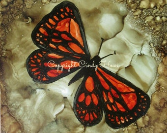 Set of 3 Greeting cards, blank inside, butterfly, alcohol ink original, butterflies,