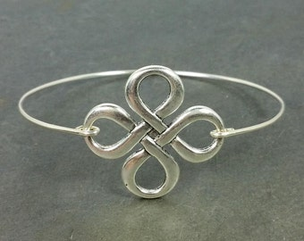 Celtic Knot Four Leaf Clover Bracelet - Sterling Silver Filled - Luck Irish NEW