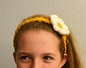 Mustard Yellow Crochet Headband with Flower Clips - Change the Flower - Ships Immediately