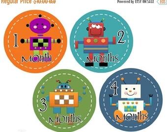 Sale Boy Milestone Stickers Monthly Baby Stickers Monkey Baby Month Stickers Boy Monthly Stickers Robots