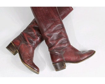 1980 tall flat Boots burgundy euro37.5 us6.5 made in italy