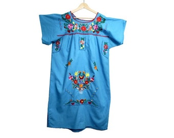 vtg EMBROIDERD mexican DRESS  blue