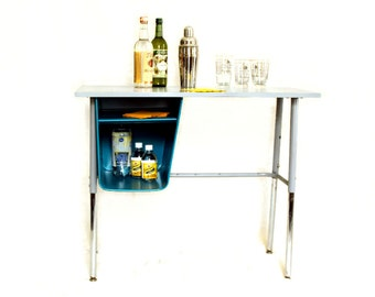 Vintage Metal Student Desk - Industrial Decor - Repurposed Furniture - Bar Cart - Adjustable Height - Teal - Urban Loft Minimalist Design