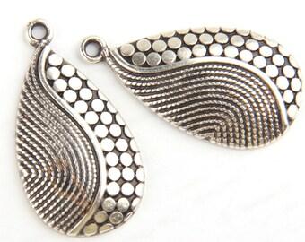 Antique Silver Teardrop Spotted Pendants, Patterned Teardrop Zamac Pendants, 2 pcs // SP-247