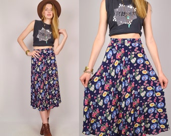 High Waist Floral Boho Long Skirt Midi Vintage
