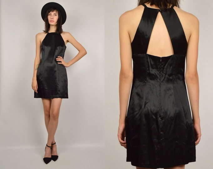 90's Black Satin Mini Dress