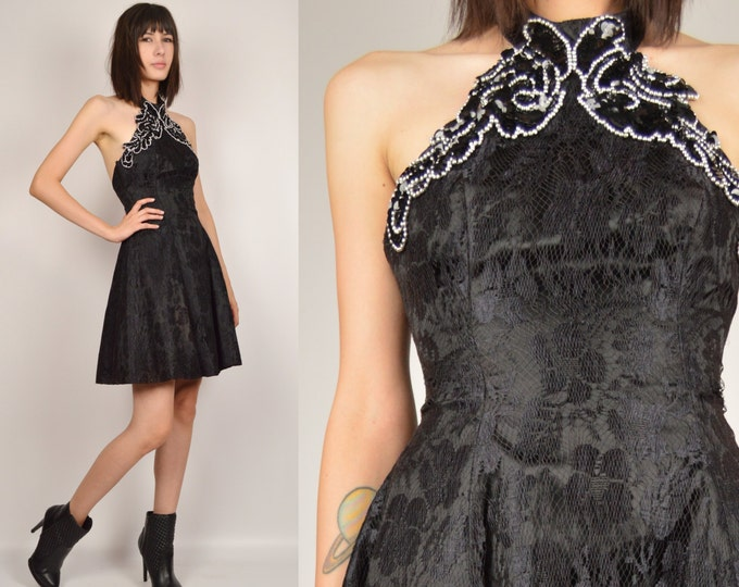 80's Black Lace Backless Party Dress Cocktail Dress
