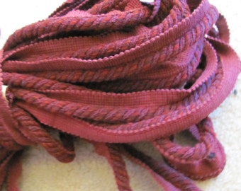 "Burgundy Twisted Braid Cord Lip Upholstery Pillow Trim  - 1"" Inch Wide - 2 Yards Each Length (014)"