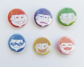Mr. Osomatsu Brothers (Individual or Set Buttons)