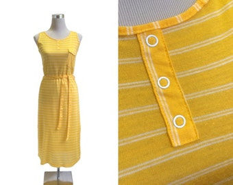 Orange Yellow Sundress - 1970's Dress - 70's Vintage Dress - Stripe Tank Dress - Jersey Knit Dress