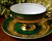 Fine Bone China Tea Cup and Saucer, Deep Green Gold Gilt, Bavaria.  Germany