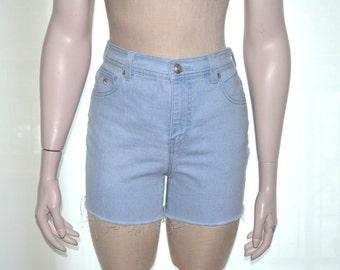 Gloria Vanderbilt Shorts, Size 8, High Waist Denim Cutoffs, Light Blue Shorts, Cutoff Shorts, Vintage Women's High Waisted Jean Shorts