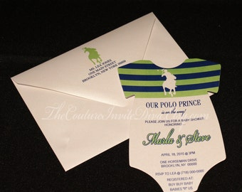 Polo Prince Baby Shower Invitation, Polo Prince Onesie Baby Shower, Boy Baby Shower Invitation, Polo Themed Baby Shower Invitation