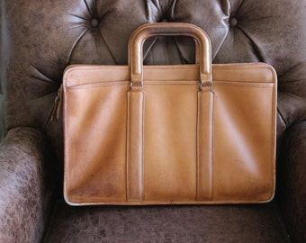 Vintage Coach Briefcase Portfolio Bonnie Cashin Tan Tobacco Camel Cognac