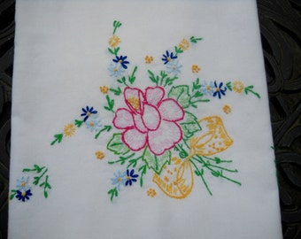 Vintage Pillowcase, Beautiful Embroidery, Wonderful Design, Bouquet of Flowers