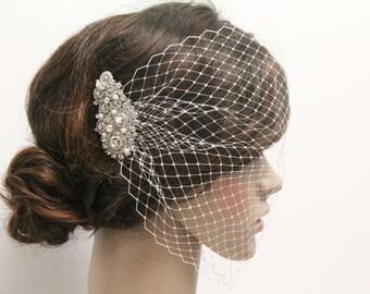 Wedding Fascinators,birdcage veil hair comb,Wedding veil,Bridal birdcage veil,Wedding hair accessories,Bridal fascinators birdcage veil comb