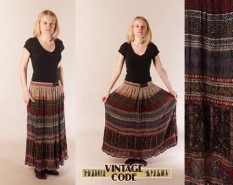 Indian Print  Drawstring  Maxi Skirt / Long drawstring Crinckled Rayon skirt / Hippie Boho Bohemian Gipsy / size  medium large
