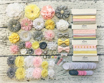 Baby Shower Headband Kit Pink, Grey, Yellow, White Mom to Bee You Are My Sunshine Baby Girl Headband Making Kit MAKES 15+ or 25+ HEADBANDS!