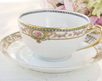 Antique Haviland Limoges Tea Cup and Saucer, Bridesmaid Tea Set, Cottage Chic, Wedding, Tea Party, Housewarming Gift, Ca. 1890
