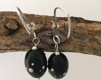 Lampwork earrings, handmade glass beads, dangle earrings, sterling silver ear wires, black beads with fine silver decoration