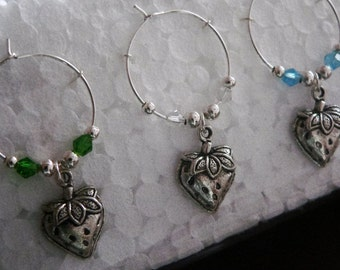 Set of 6 Silver Strawberry Wine Glass Charms with multi coloured adjoining beads