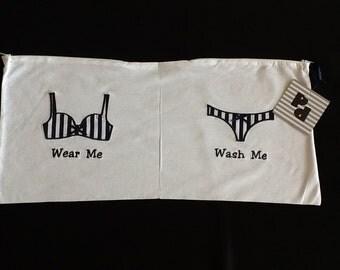 Underwear travel bag - Navy Blue and White Stripes - NEW DESIGN